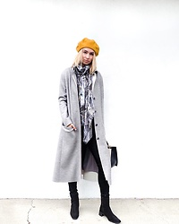 Jessica Luxe - Beret, Jane Carr Scarf, J Js Lee Jacket, Black Jeans, Stuart Weitzman Boots - Fall Ready