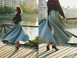 Andreea Birsan - Tie Neck Top, Black Crossbody Bag, Black Pumps, Waterfall Skirt - Grey skirt & bow tie top: romantic fall outfit idea