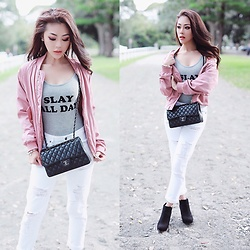 Joanna Aoran - Bardot, Chanel, Na Kd Fashion Dusty Pink Rose Bomber Jacket, Misguided Slay All Day One Piece - SLAY ALL DAY