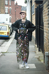 Carla V - Lanjian Embroidered Dress, H&M Oversized Bomber Jacket, Pull & Bear Hat, Zara Trainers, Asos Socks, Calvin Klein Bralet - It's About Style