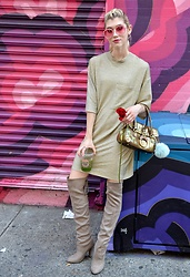 Dani Mikaela McGowan - Zara Gold Tee Shirt Dress, Steve Madden Over The Knee Boots - NYFW Street Style