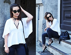 Barbara Kucharska - Brylove Sunglasses, Diy Choker, Zara Blouse, Pull & Bear Pants, Stradivarius Bag, Parfois Shoes - Choker