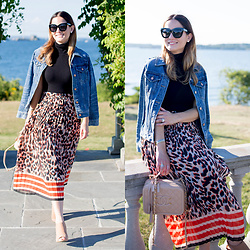Jenn Lake - Asos Pleated Leopard Midi Skirt, J. Crew Denim Jacket, Chanel Vanity Case Bag, Theory Black Sleeveless Turtleneck, Steve Madden Tan Claara Sandals, Quay Sugar And Spice Sunglasses - Pleated Leopard Midi Skirt