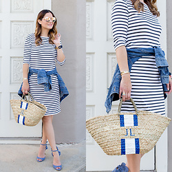 Jenn Lake - Saint James Navy Stripe Propriano Dress, J. Crew Denim Jacket, Lindroth Designs Monogram Lyford Mini Tote, The Ropes Maine Rope Bracelet, Quay Cherry Bomb Sunglasses, Banana Republic Blue Jackie Ruffle Heels - Navy Stripe Dress