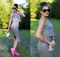 Panda Mone - Sheinside Top+ Skirt, Gamiss Clutch - UP IN THE WOODS