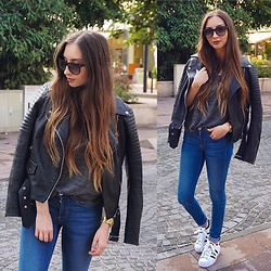 Aliz M - Tommy Hilfiger Sunglasses, Zara Leather Jacket - Leather Jacket