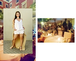 Tneale Williams - Cotton On White Blouse, Cotton On White Denim Shorts, Primark Nude Mules, Dtw Tan Kaftan - #DTWtravels: Costes