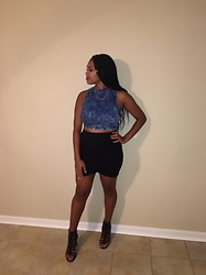 Janai Lourdes - Charlotte Russe Black Chunky Heels, Charlotte Russe Black Cotton Body Con Skirt, Charlotte Russe High Neck Acid Wash Denim Crop Top - Night in Oxford