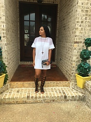 Janai Lourdes - Missguided White Mesh T Shirt Dress, Coach Black Wristlet, Shoedazzle Black Gladiator Sandals, Forever 21 Rainbow Gemstone Bracelt - Dressed Up for First Downs