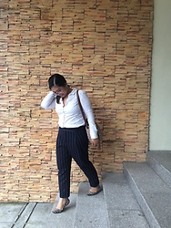 Aizha Guevarra - H&M White Buttoned Down Shirt, Stradivarius Pinstripe Pants - Pinstripes
