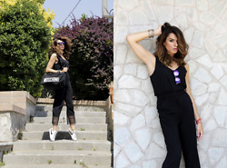 Enrica Scielzo - Moschino Weekend Bag, Pinko Pants, Nike Classic Tennis, & Other Stories Simple Black Top, Foreyever Sunglasses, Ethnic Bracelets - TRAVEL WITH STYLE