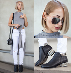 Julia Loewenherz - Zerouv Military Aviator Metal Classic Mirror Sunglasses, Jeffrey Campbell Shoes Sergio Ankle Boots, The Kooples Lion Bag - S L A Y   minimal