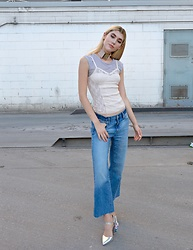 Dani Mikaela McGowan - Urban Outfitters Lace Camisole, Urban Outfitters Mesh Tee Shirt, Gap Cropped Wide Leg Jeans, Asos Silver Floral Shoes - Layers of Love