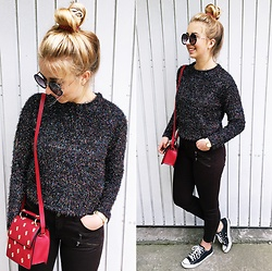 "Matylda - Zara Brown Pants, Zara Red Bag, Converse Black, Stradivarius Round Sunglasses - Shiny sweater & ""onion"" on my head"