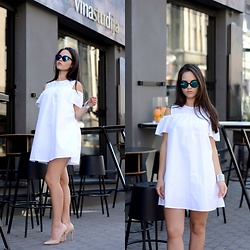 Sofija Lukjanska - Zara Dress, Reserved Heels, Reserved Sunglasses - WHITE DRESS