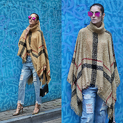 Ruxandra Ioana - Zaful Poncho, Romwe Jeans, Zaful Sunglasses - Devil of Mercy