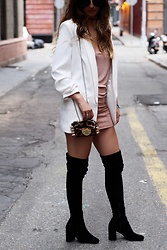Alyssa Melendez - Missguided White Blazer, Missguided Slip Dress, Jeffrey Campbell Shoes Over The Knee Boots - White All Year & Over-The-Knee Boots