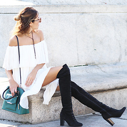 Lauren G. - Azeeza Tiered Off Shoulder Dress, Ted + Muffy Lace Up Over The Knee Boots, Galleries Lafayette Forest Green Saddle Bag, Sunday Somewhere Round Sunglasses, Gypsy Warrior Suede Tie Choker - High Contrast