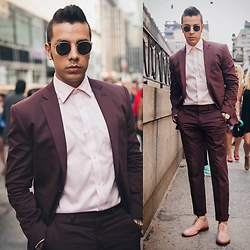 Franko Dean - Ray Ban Round Sunglasses, Michael Kors Dress Shirt, Pedro Shoes Pink Wingtips, Express Slim Suit - Burgundy and Pink ...