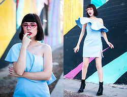 Amy Roiland - Fame And Partners Dress, Boots - Baby Blue Dream , Pink Bangs