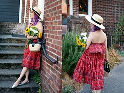 Aika Y - Minkpink Printed Off The Shoulder Ruffle Dress, American Eagle Outfitters Wide Brimmed Straw Hat, Thrifted Straw Minibag, H&M Silver Flat Shoes - Printed Off the Shoulder Ruffle Dress  || Target x MINKPINK