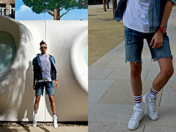 Luke Kuleta - Zara Jeans Shorts, Reebok White High Tops - Jeans x white