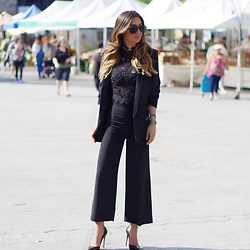Alyssa Melendez - Zara Gaucho Pants, Zara Black Blazer, Lord & Taylor Black Lace Top, Quay Black Aviators, Christian Louboutin Black Stilettos - Business Chic