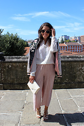 Joana Sá - Rosegal Sunglasses, Zara White Shirt, Stradivarius Bomber Jacket, Primark Culottes, Mango Bag, Stradivarius Sandals - Princess