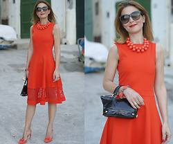 Vale ♥ - French Connection Uk Coral Midi Dress - Coral midi dress