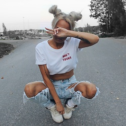 Eeva K. - Worst Behavior White Tee - DON'T TOUCH