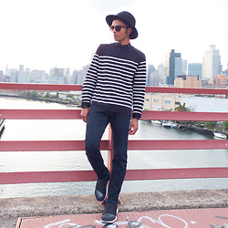 Josh Walter - Ann Demeulemeester Hat, Moscot Sunglasses, Muji Boatneck, Rick Owens Jeans, Nike Shoes - Dots // Loops