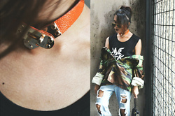 Kylie Rodriguez - Style Paradigm Orange Hermes Choker, Belle Of The Brawl One Sick Bitch Tank Top, Bershka Oversized Camouflage Jacket, Forever 21 Ripped Boyfriend Jeans, Ray Ban Aviator Sunglasses - Apparently my neck is the new Birkin.