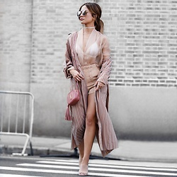 Jessi Malay - Intermix Braided Detail Suede Shorts, Tony Bianco Kitzy Suede Mules, Fallon Monarch Micro Wrap Choker, Perverse Solid Gold Sunglasses, Raquel Allegra Striped Trench Robe - NYFW | Pastel Hues #OOTD