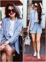 Diyora Beta - Sheinside Shein Striped Suit, Zara Duffle Bag - Striped suit