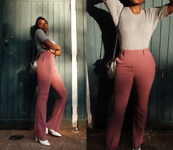 Remi Afolabi - Monki Trousers, Topshop Sequin Bag, Public Desire Sling Back Heels - Flaring Out