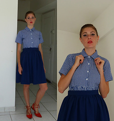 Laurielle Haze - Choies Gingham Dress (As A Shirt), Pepaloves Blue Midi Skirt, Missguided Red Laced Up Sandals - School Teacher
