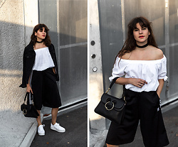 Michèle Krüsi - Topshop Jacket, Off The Shoulder Top, J.W. Anderson Pierce Bag, Adidas Originals Culottes - Girly meets Sporty