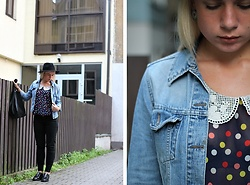 Rita G - Hard Shoulder Jacket, New Look Jeans, Zara Shoes, Zara Hat, Mango Bag, Vintage Top - Cheeky September