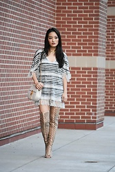 Kimberly Kong - Chaser Fringe Top, Amiclubwear Cut Out Boots, Chloe Investment Bag, Jwholesale Choker - Fall Fringe