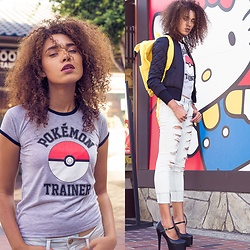 Sheila Johnson - Hot Topic Tshirt, American Eagle Outfitters Jeans, Ami Club Wear Black Shoes, H&M Black Jacket, Hot Topic Yellow Bag - Pokemon in 6 inch heels