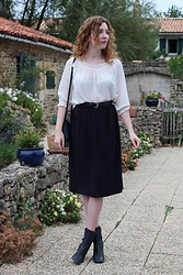 Summer R - Mango Sheer White Blouse, Zara Midi Pleated Skirt, Next Vintage Sock Boots - Sheer & Pleats