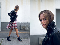 Mina T - Diesel Leather Jacket, Diesel Ankle Boots, Diesel Karo Dress - Street Boy and Girl