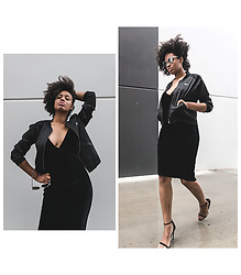 Aicha R. - Beginning Boutique Lover Bomber Jacket, Beginning Boutique La Lune Roundie Sunglasses Silver, Beginning Boutique Sepia Midi Dress Black - A Whole Lotta Lovin'
