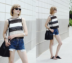 E Maille - Ray Ban Wayfarers, Zara Crop Top, Mansur Gavriel Bag, Atp Atelier Sandals - Three across
