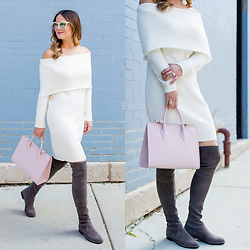 Jenn Lake - Bp Ivory Off Shoulder Sweater Dress, Stuart Weitzman Grey Lowland Over The Knee Boots, Strathberry Pink Midi Bag, Quay Pink Isabella Sunglasses - Ivory Off Shoulder Sweater Dress