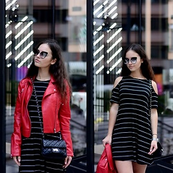 Sofija Lukjanska - Pull & Bear Leather Jacket, Pull & Bear Dress, Marc By Jacobs Sunglasses - MILAN FASHION WEEK DAY 1