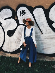 Agnija Grigule - Storets Denim Jumpsuit, Lindex Straw Hat, Public Desire Black Pump Shoes - STREET X COUNTRY