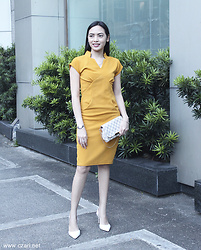 Czari Denise - Zalora Mustard Yellow Dress, Louis Vuitton White Demi Azure Favorite Pouch, Charles And Keith White Strap Heels - Bright day with Mustard at work
