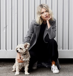 Ebba Zingmark - Chiquell Coat, Adidas Shoes, Von Hund Choker, Von Hund Collar, Charlie Dog - TOP UP