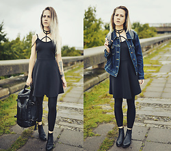 Kadri S - Rosewholesale Black Dress, Rosewholesale Black Backpack - ///black dress, backpack, denim jacket, GO